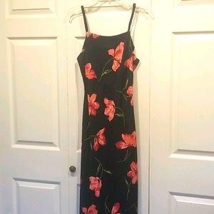 Expression 50 Black Floral Maxi Dress Size L